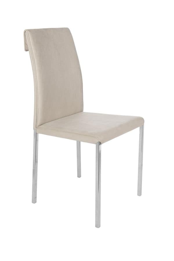 Borso chrome, Modern chair with chromed metal structure suited for bars, chairs with microfiber covering suitable for the kitchen