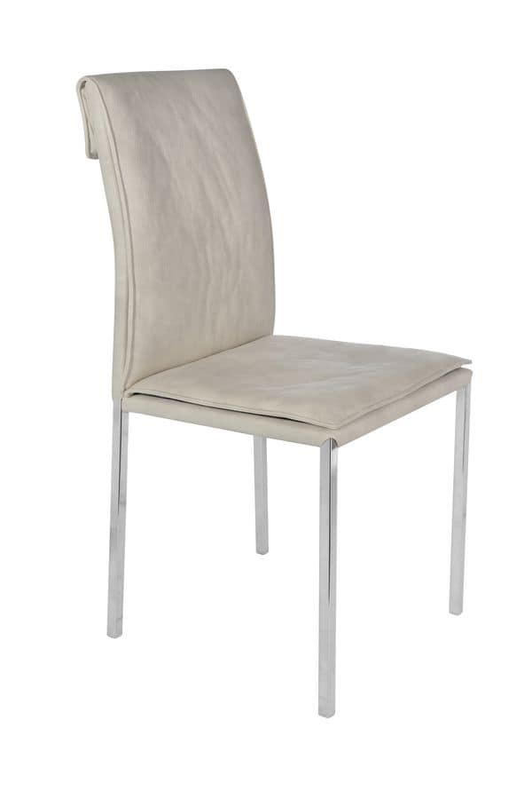Borso top cromo, Chair with chromed metal legs and padded seat ideal for home