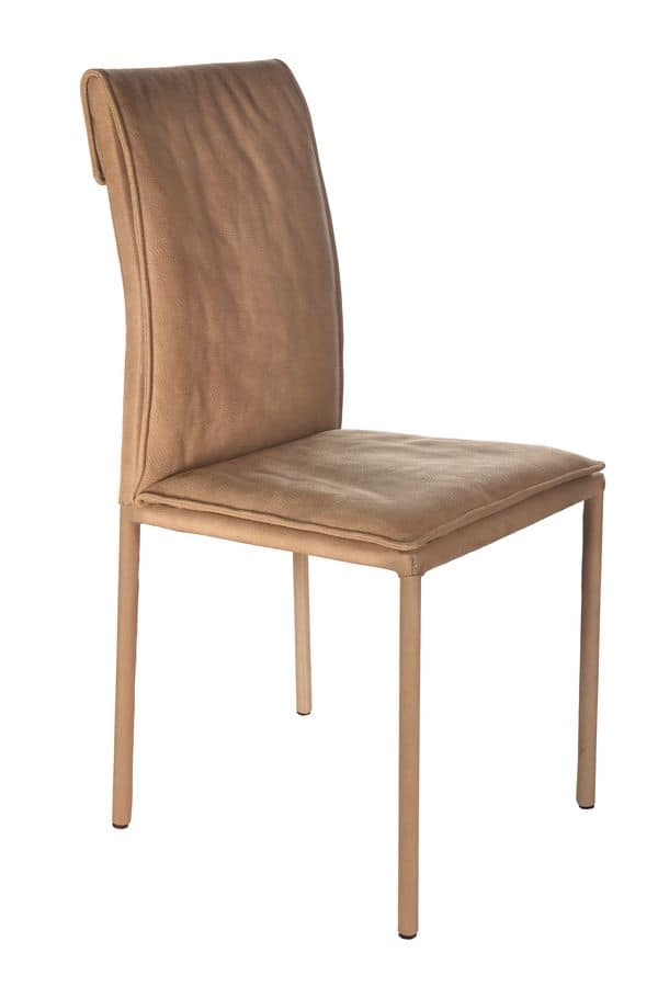 Borso Top, Metal chair with upholstered body suitable for modern dining rooms