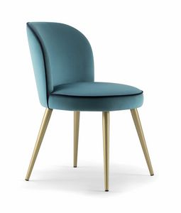 CANDY SIDE CHAIR 061 SL, Chair with metal conical legs