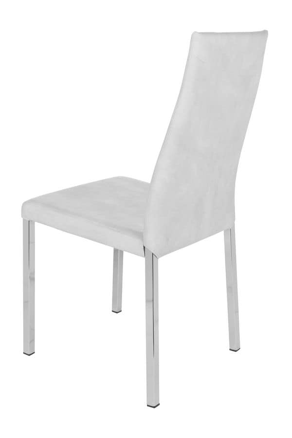 Castelfranco cromo, Metal chair upholstered in microfiber suitable for modern kitchens