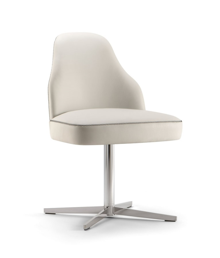 CHICAGO SIDE CHAIR 015 S X, Chair with metal cross base