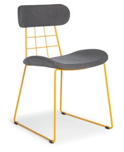 Chloe, Modern chair in metal, upholstered
