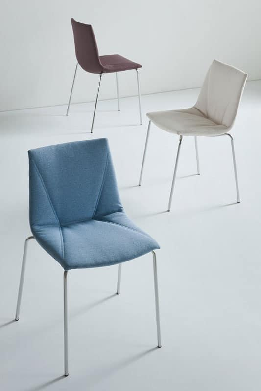Colorfive WRAP NA, Upholstered chair, covered in King fabric, metal base