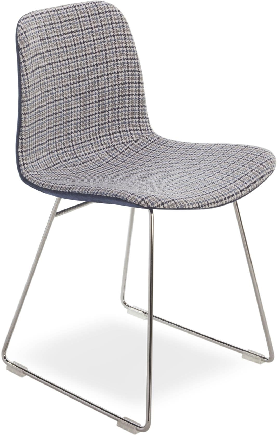 Dama UP, Modern chair with metal base, seat in fabric