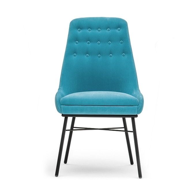 Danielle 03615K, Metal chair with buttoned backrest