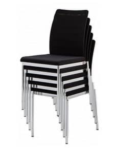 Evosa 08/1, Modern metal chair for kitchen, chair with upholstered seat for bar