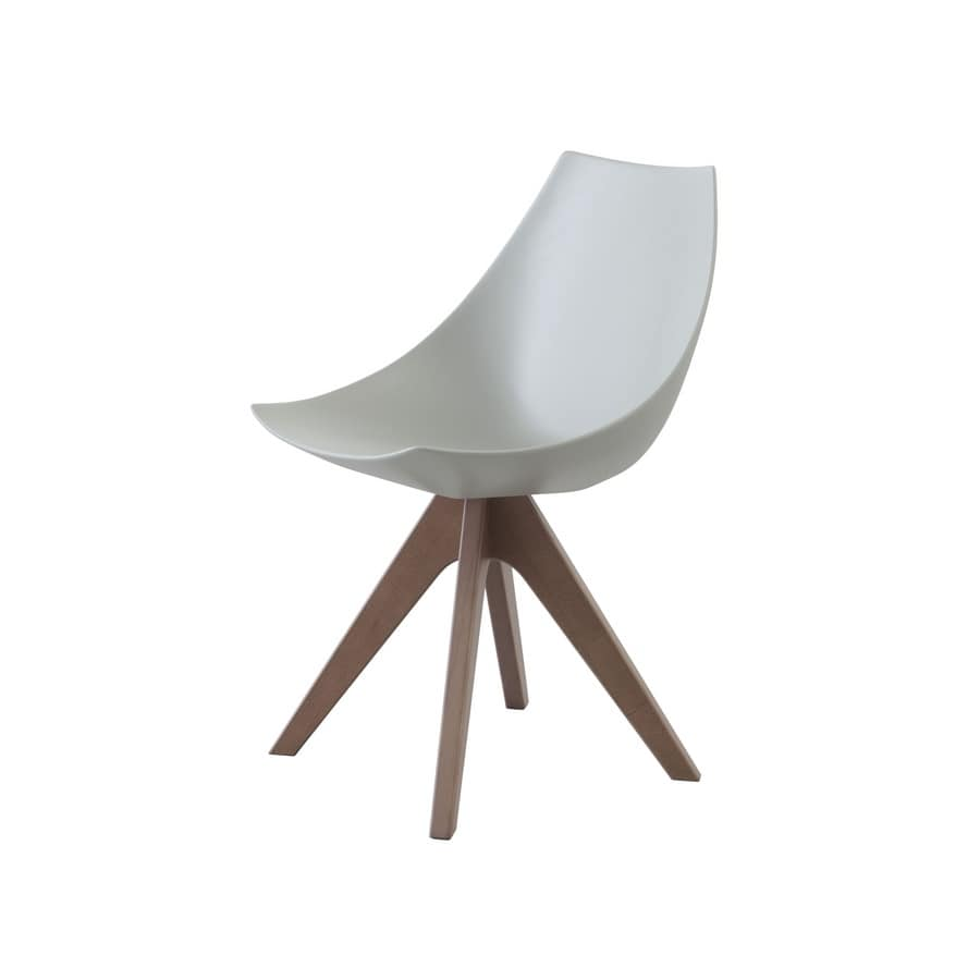 Gamma in wood, Chair with wooden base, brightly colored