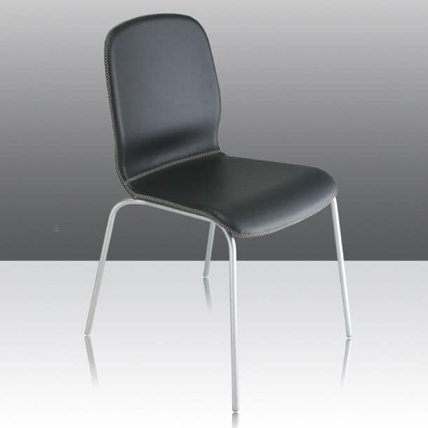 Glamour Up, Fireproof chair with shell upholstered in leather, suitable for contract use