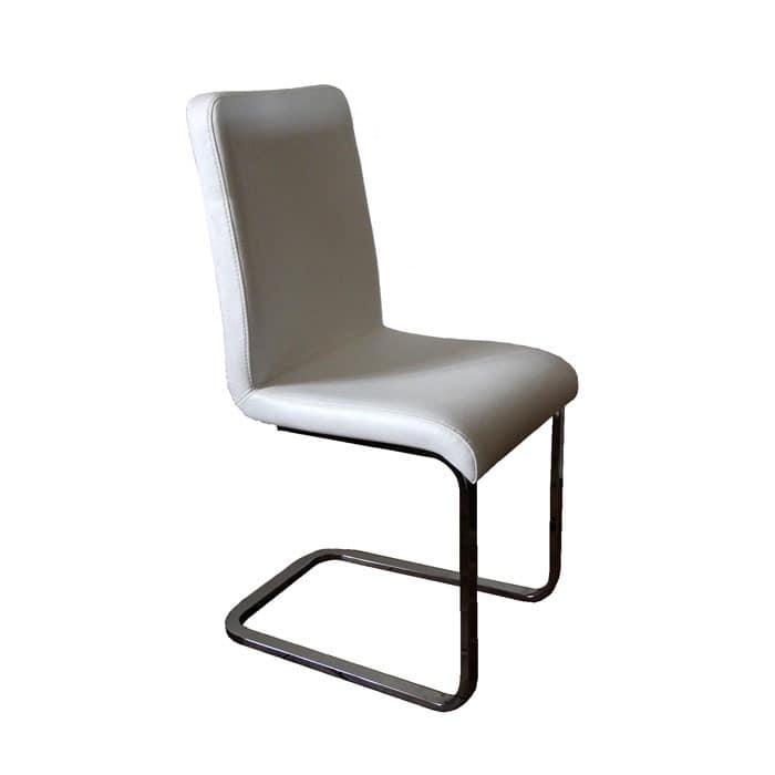 Glenda, Upholstered chair with sled chrome base