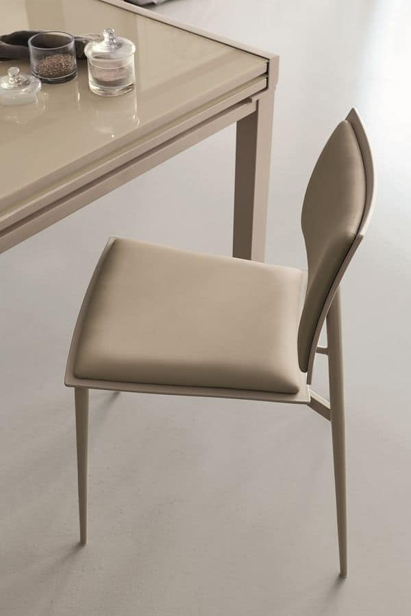 HAPPY SE173, Metal chair with upholsterd seat and backrest