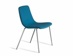 Ics 505MT4, Stackable metal chair, with upholstered shell