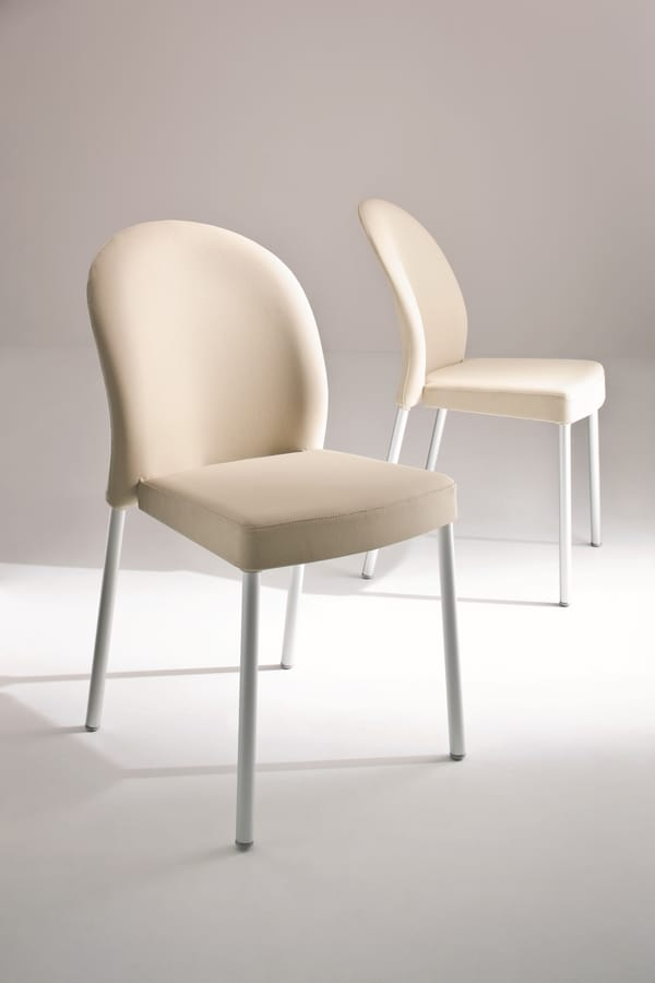 Marostica cod. 11/I, Stackable metal chair, upholstered, for contract use
