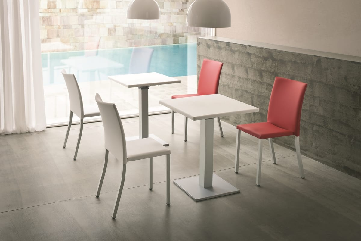 Modena, Padded stackable chair, in metal, household