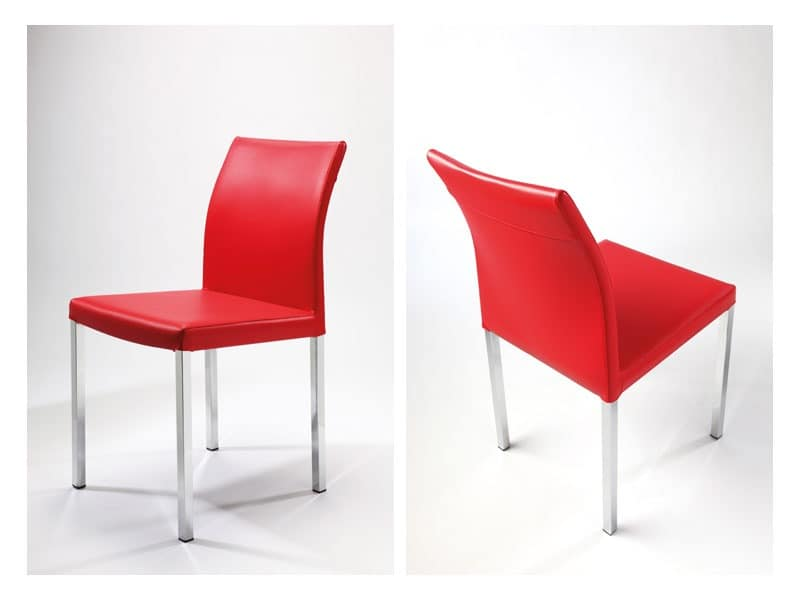 Orchidea, Linear chair, in leather, in various colors, for waiting room