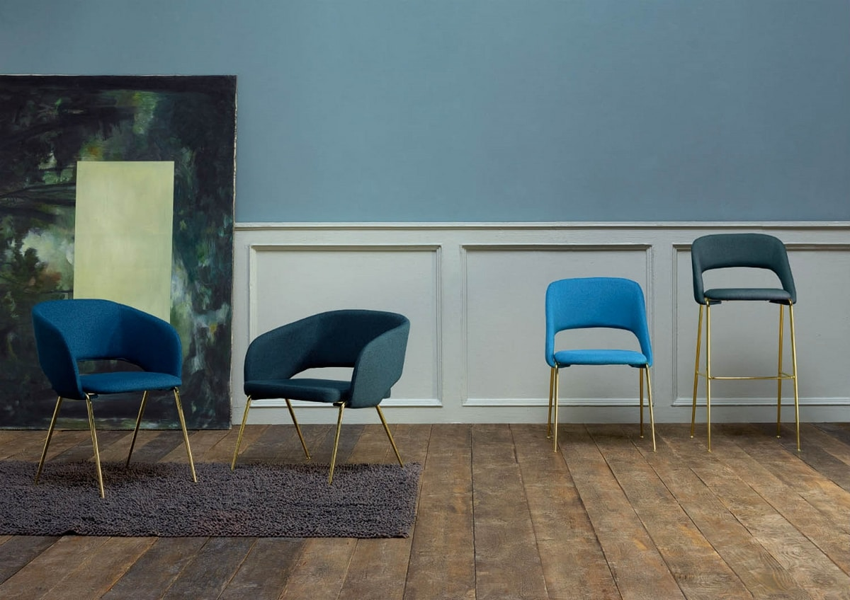 Rainbow, Metal chair, upholstered