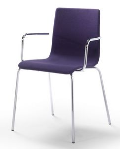 Tesa fabric AR, Stackable chair with armrests, padded seat and backrest