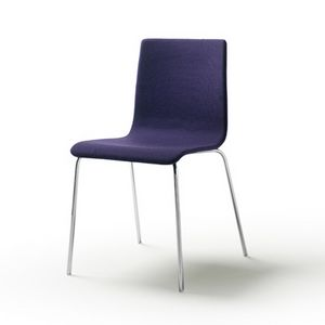 Tesa fabric, Stackable chair in chromed or varnished steel