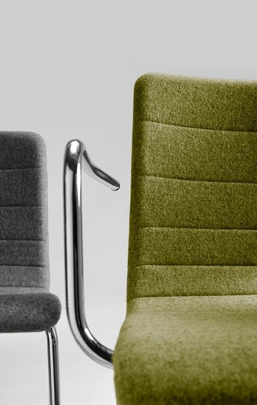 Tesa stripe, Stackable chair, in chromed metal, horizontal seams