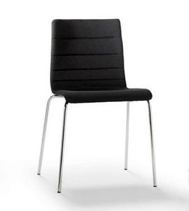 Tesa stripe, Stackable chair, in chromed metal, horizontal seams