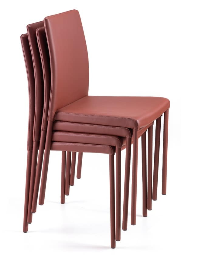 Treviso impilabile alta/bassa, Customizable chair, in metal and leather, for restaurants