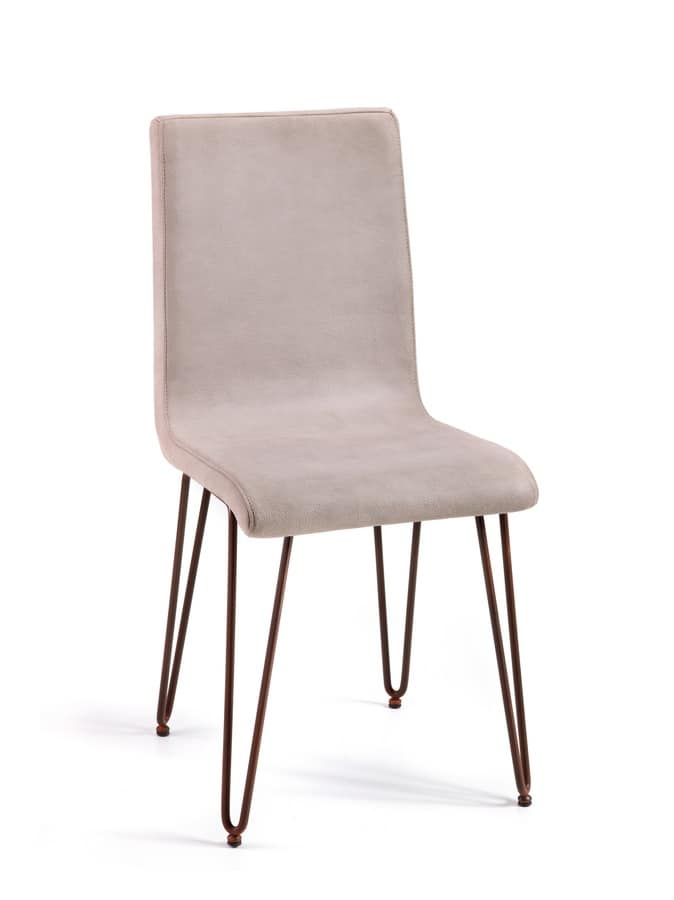 Valdo, Leather chair with steel rod legs, for contract use