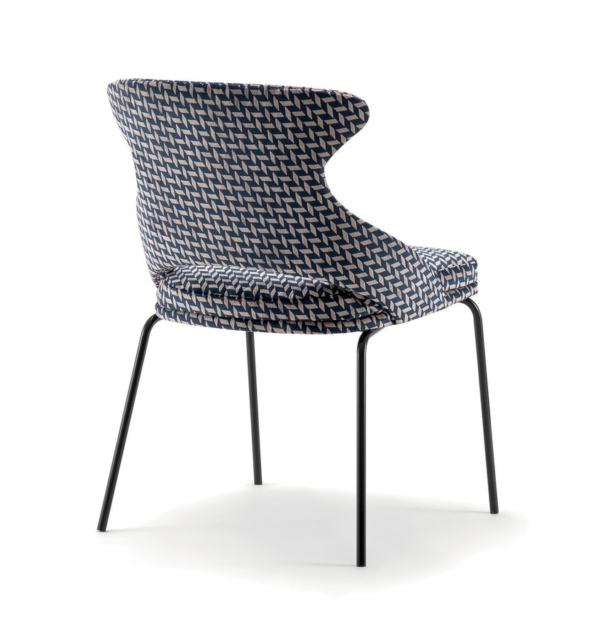 WINGS SIDE CHAIR WITH METAL BASE 076 SL, Upholstered chair, metal legs