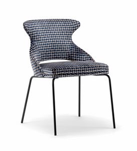 WINGS SIDE CHAIR WITH METAL BASE 076 SL, Upholstered chair, metal legs