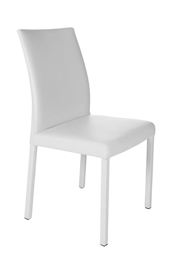 XL, Chair in white painted metal and leather covering body suited for kitchens and restaurants