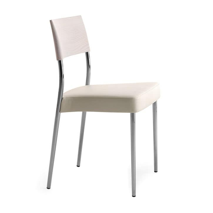 Airon 02011, Stackable chair with chromed metal frame, back in solid wood, upholstered seat, for contract use