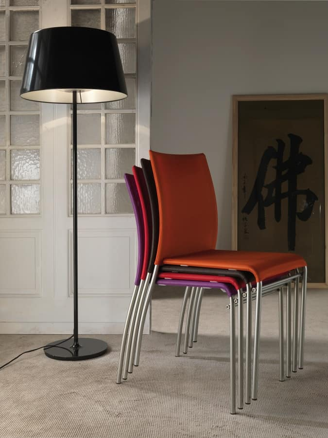 Art. 039 Matrix, Metal chair with PVC net seat and backrest, stackable