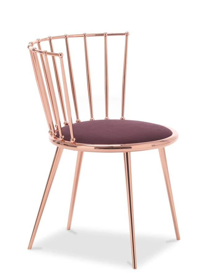 Aurora barred-back chair, Metal chair with padded seat