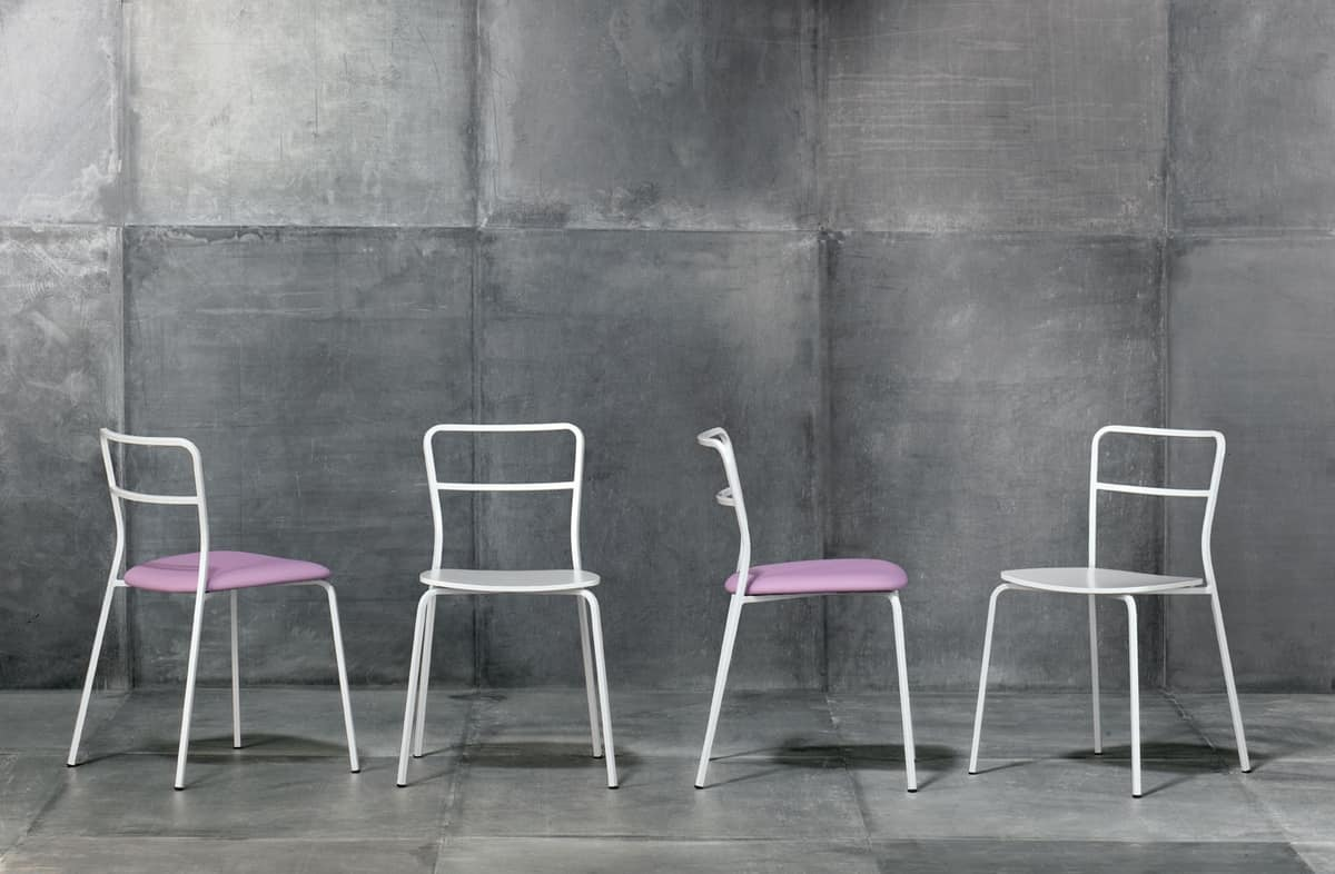 Axelle, Modern chair in chromed metal, padded seat