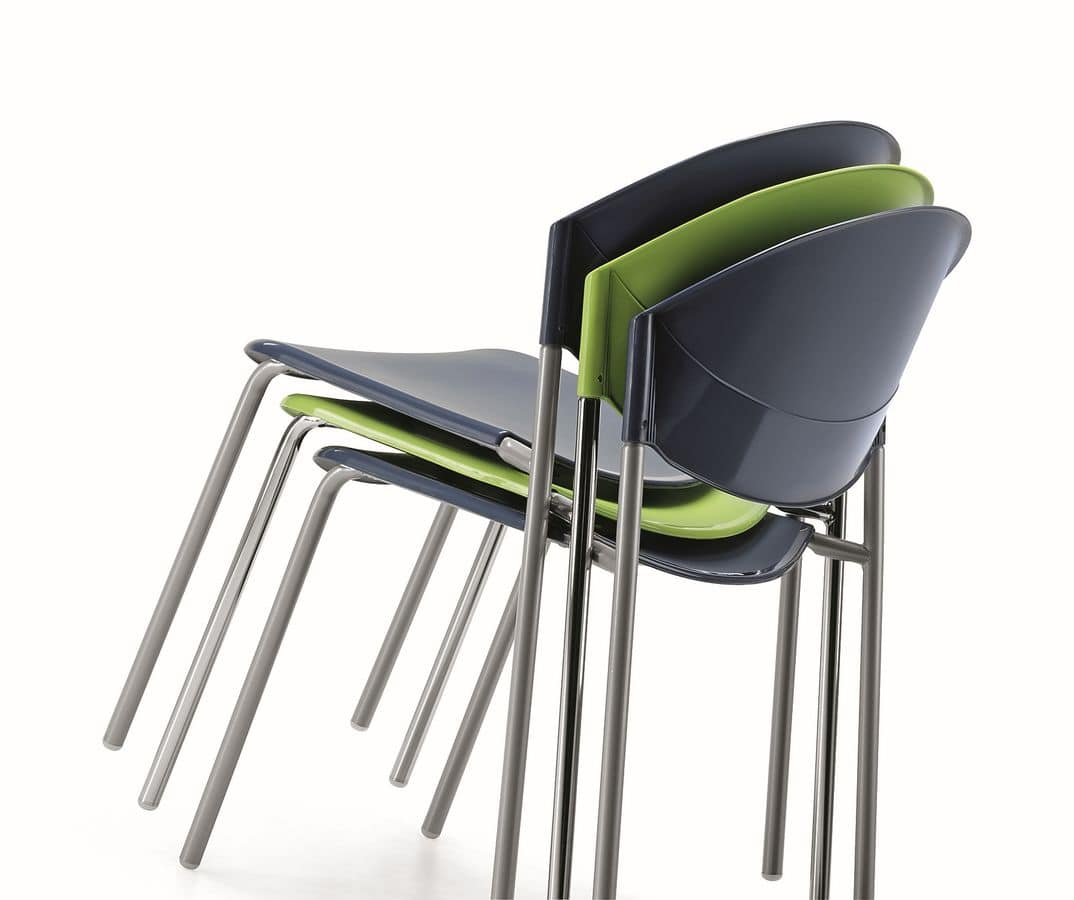 DELFI 083, Stackable chair in metal and polymer in various colors