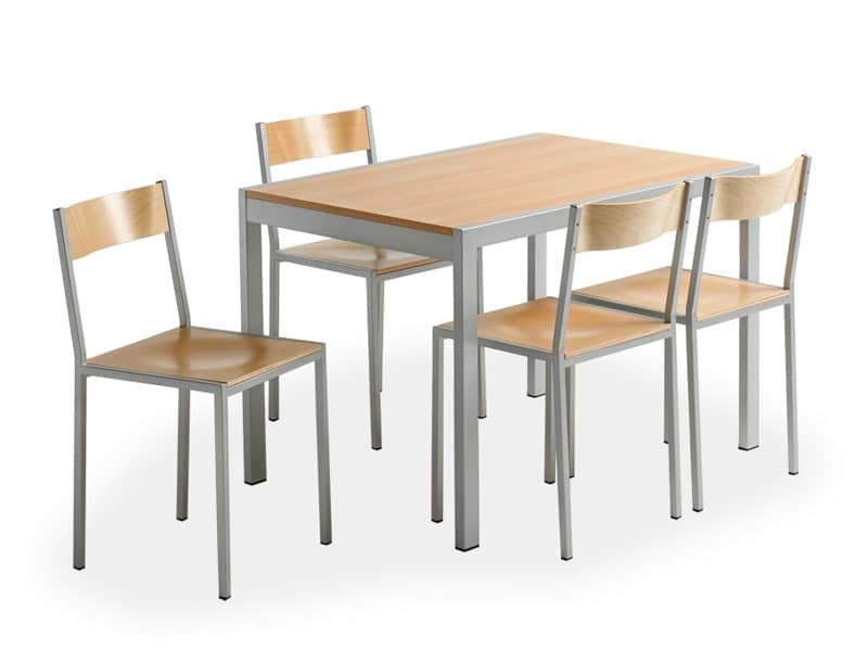 Do chair, Metal chair with wooden seat, for canteen