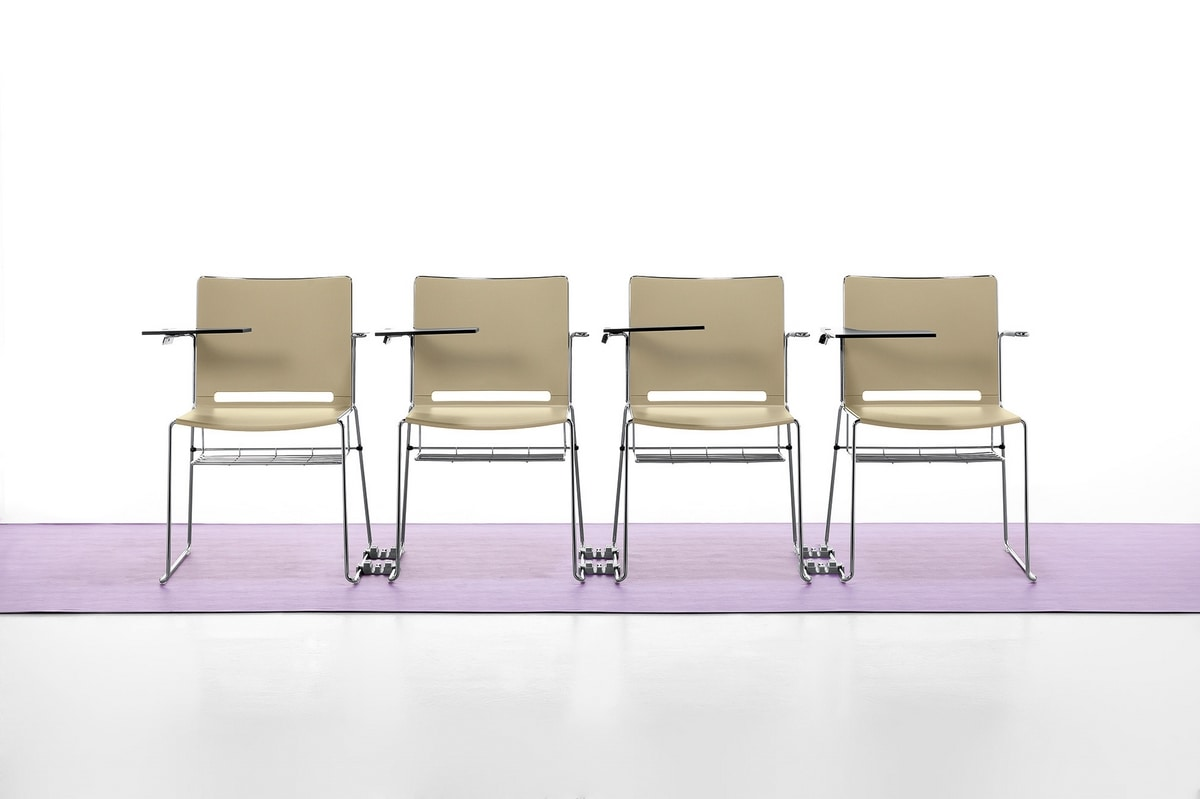 Easy, Stackable chair in metal and polypropylene, with armrests