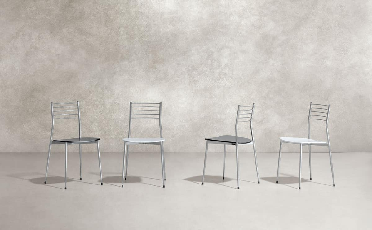 Estelle, Chair in chromed metal, plywood seat