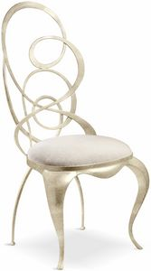Ghirigori chair, Dining chair with shaped iron backrest