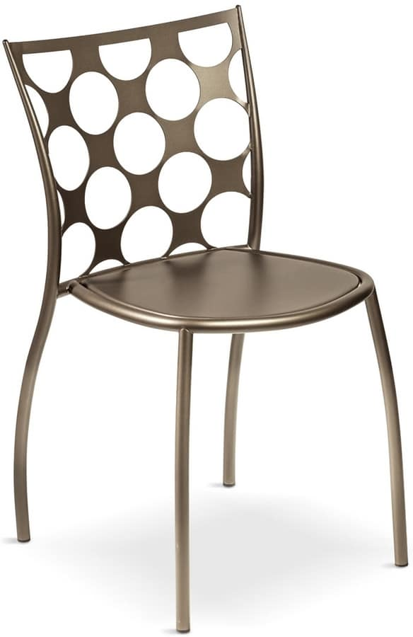 Julie cerchi, Metal chair, backrest with circular holes