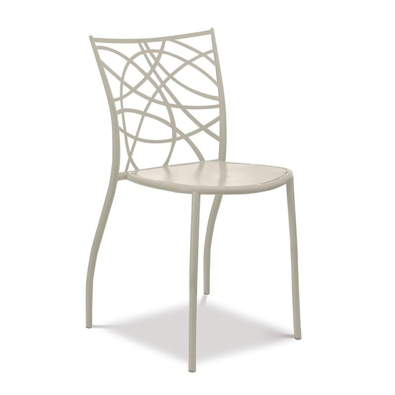 Julie chair, Stackable iron chair, back cut with laser