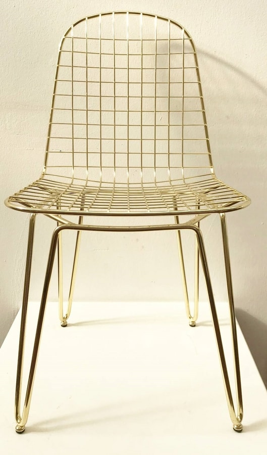 Keller, Industrial style chair, with gold finish