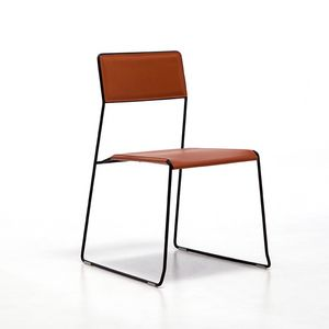 Log leather, Metal chairs, seat and backrest in regenerated leather, for bar and restaurant