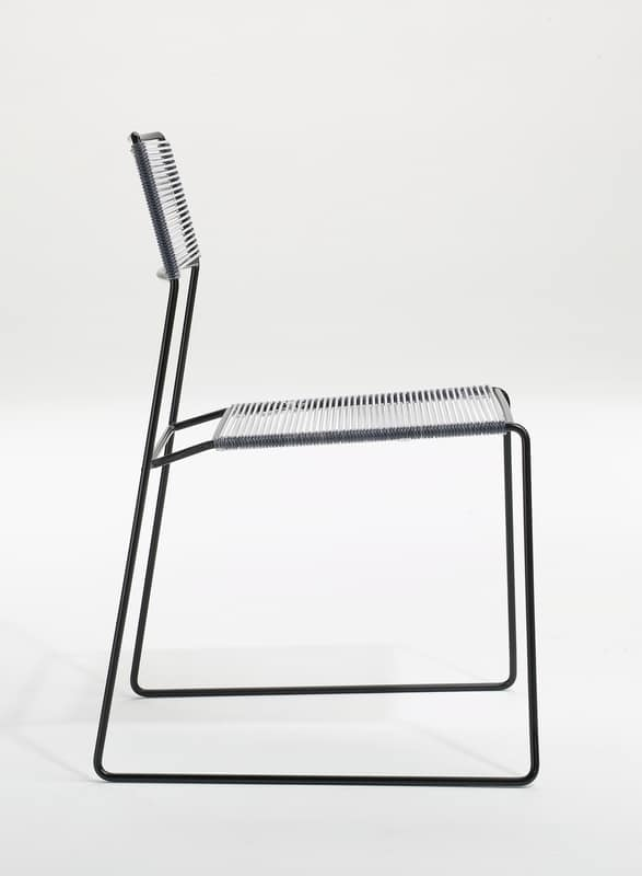 Log spaghetti, Metal stacking chair, seat and backrest in PVC rope, also for outdoor use