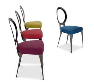 Miss chair, Chair with iron frame, seat upholstered in rubber