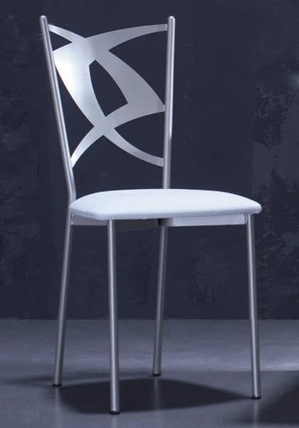 Rondine, Metal chair, seat leather, for bars and restaurants