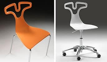 T-shirt chair, Stackable chair in plastic, structure made of chromed steel
