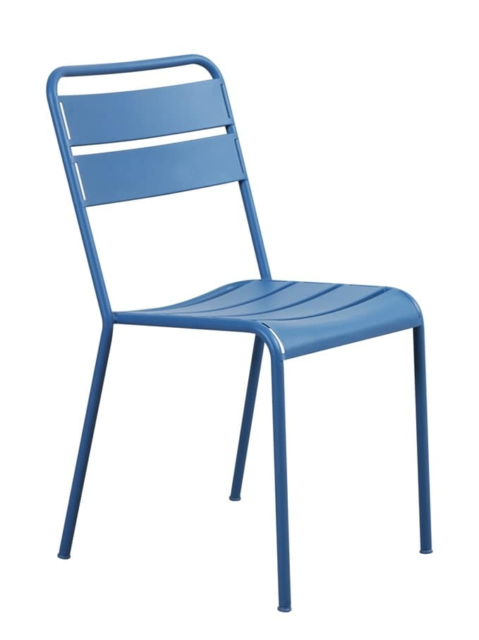 Twist, Stackable chair, in metal, with simple lines