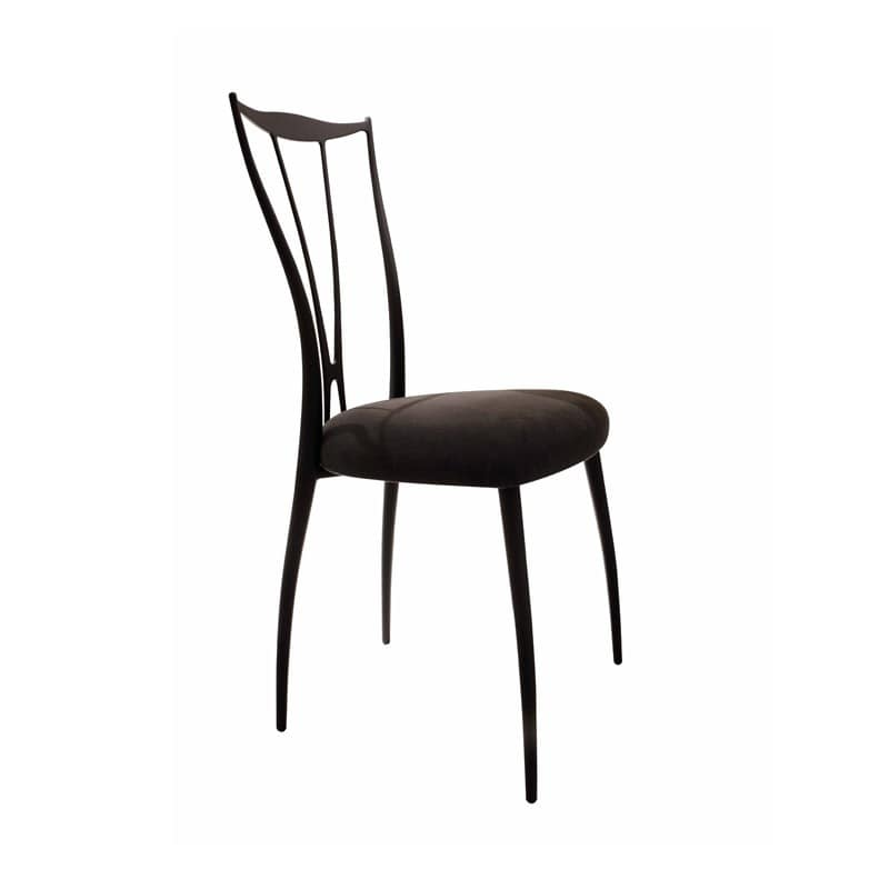 Vilma chair, Chair with iron frame, seat upholstered in rubber