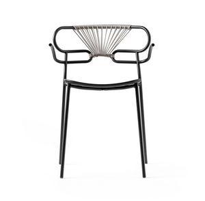 ART. 0048-MET-CROSS-PU GENOA, Stackable metal chair, also for outdoor use
