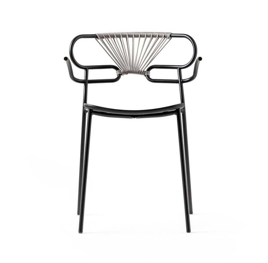 ART. 0048-MET-CROSS-PU GENOA, Stackable metal chair, also for outdoor use